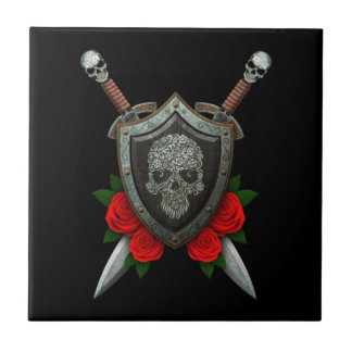 Floral Sugar Skull Shield and Swords with Roses Ceramic Tile