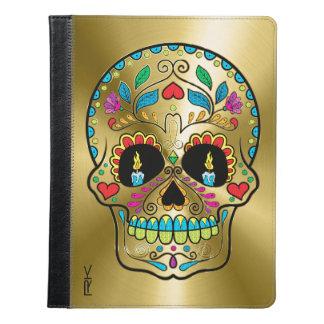 Floral Sugar Skull & Shiny Metallic Gold Print iPad Case