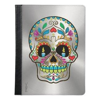 Floral Sugar Skull & Shiny Metallic Silver Print