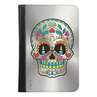 Floral Sugar Skull & Shiny Metallic Silver Print iPad Mini Case