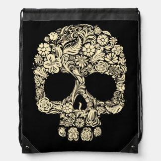 Floral Sugar Skull Tattoo Drawstring Backpack