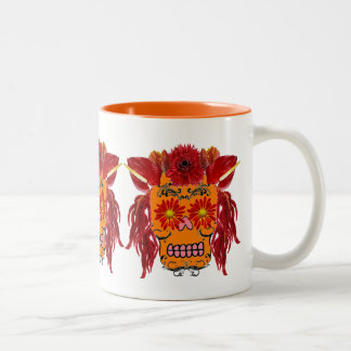 Floral Sugar Skull Two-Tone Coffee Mug