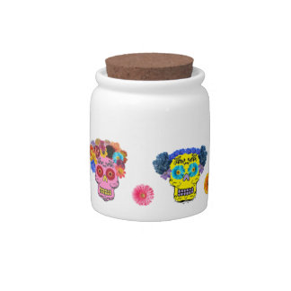 Floral Sugar Skulls Candy Jars