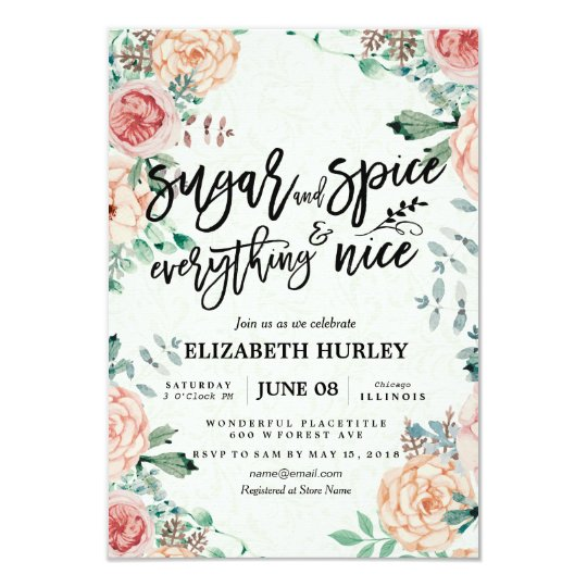 Floral Sugar Spice Everything Nice Baby Shower Invitation
