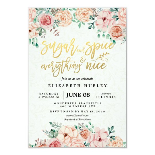 d25396a0a1f5 Floral Sugar   Spice   Everything Nice Baby Shower Invitation ...
