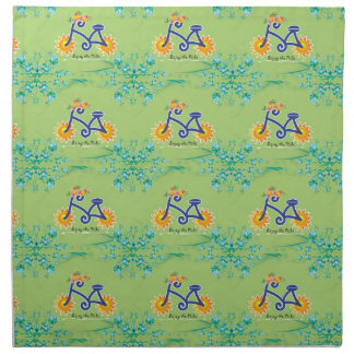 Floral Summer Bicycle Pattern Cloth Napkin