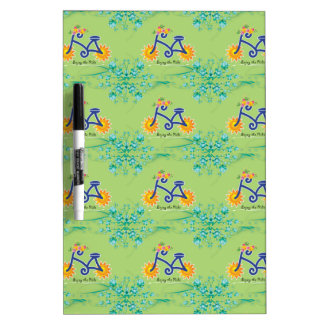 Floral Summer Bicycle Pattern Dry-Erase Board