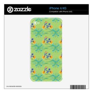 Floral Summer Bicycle Pattern Skin For iPhone 4