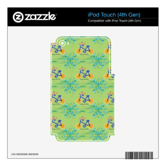 Floral Summer Bicycle Pattern Skin For iPod Touch 4G