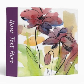 Floral summer design with hand-painted abstract 2 3 ring binder