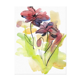 Floral summer design with hand-painted abstract 2 canvas print