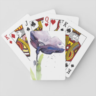 Floral summer design with hand-painted abstract playing cards