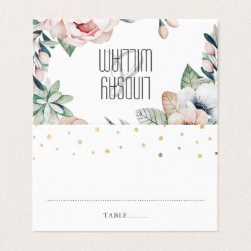 Wedding Themed Floral Summer Garden Wedding Place Card