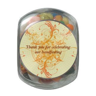 Floral Sun Favors Jelly Belly Jar Pagan Wedding Glass Candy Jar