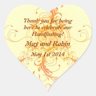 Floral Sun Handfasting Thank You Heart Sticker