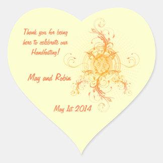 Floral Sun Handfasting Thank You Heart Sticker 2