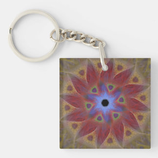 Floral Sundial Double-Sided Square Keychain