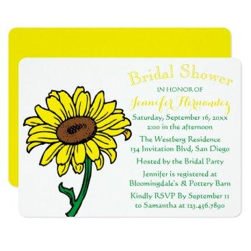 Beach Themed Floral Sunflower Bridal Shower Yellow & Green Card