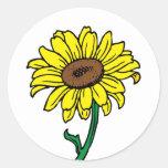 Floral Sunflower Gold Yellow, Green Flower Wedding Classic Round Sticker