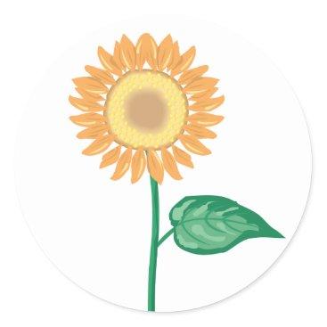 Beach Themed Floral Sunflower Gold Yellow, Green Flower Wedding Classic Round Sticker