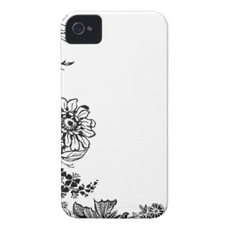 Floral sunflower rose flower branch silhouette iPhone 4 Case-Mate case