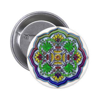 Floral Sunflower Shape Design Pinback Button