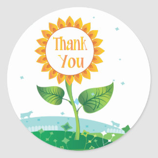 Floral Sunflower Thank You Sticker / Seal