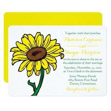 Beach Themed Floral Sunflower Wedding Yellow & Green Flowers Card