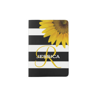Floral Sunflower Yellow Black Stripes Monogram Passport Holder
