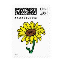 Floral Sunflower Yellow & Green Flower Wedding Postage