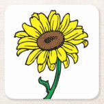 Floral Sunflower Yellow & Green Flowers Wedding Square Paper Coaster