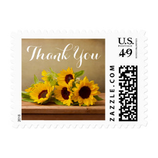 Floral Sunflowers Yellow Flowers Rustic Thank You Postage