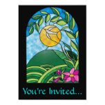 Floral Sunlight Vintage Stained Glass Style 5x7 Paper Invitation Card