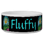 Floral Sunlight Vintage Stained Glass Style Pet Food Bowls