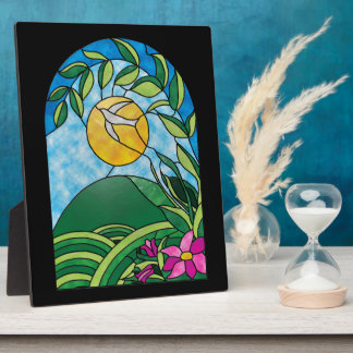 Floral Sunlight Vintage Stained Glass Style Photo Plaque