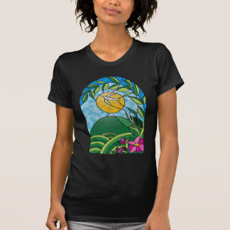 Floral Sunlight Vintage Stained Glass Style T Shirt