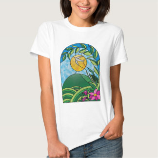 Floral Sunlight Vintage Stained Glass Style T-shirt