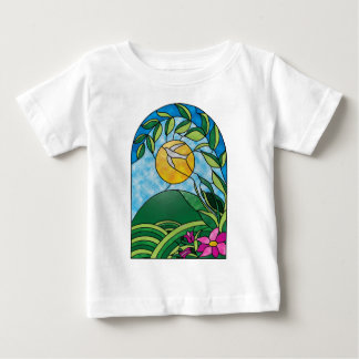 Floral Sunlight Vintage Stained Glass Style Tee Shirt