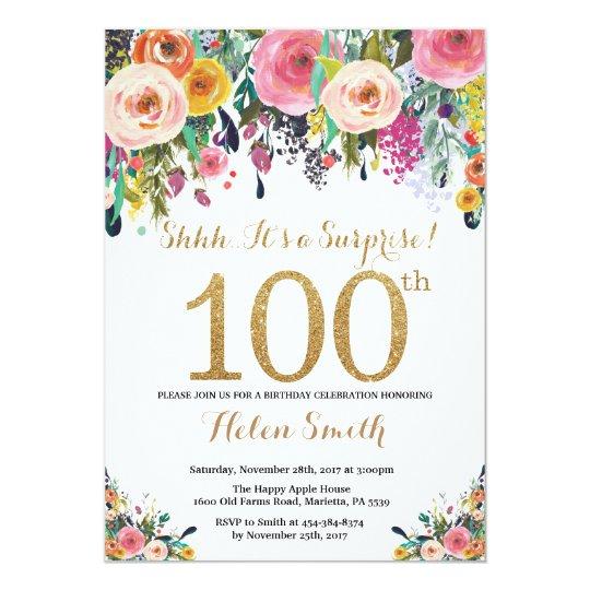 floral surprise 100th birthday invitation gold zazzle com