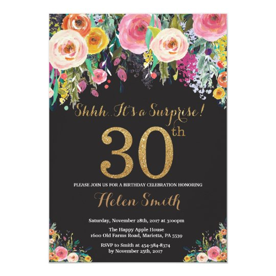 Floral Surprise 30th Birthday Invitation Gold