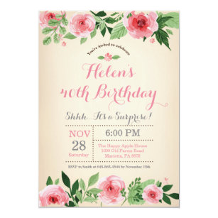 boho 40th birthday invitations zazzle