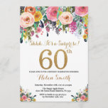 """Floral Surprise 60th Birthday Invitation Gold<br><div class=""""desc"""">Floral Surprise 60th Birthday Invitation for Women. Watercolor Floral Flower. Gold Glitter. Pink,  Yellow,  Orange,  Purple Flower. Adult Birthday. For further customization,  please click the """"Customize it"""" button and use our design tool to modify this template.</div>"""