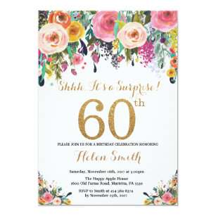 Floral Surprise 60th Birthday Invitation Gold