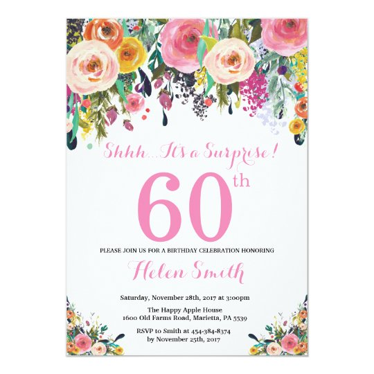 Fl Surprise 60th Birthday Invitation Pink