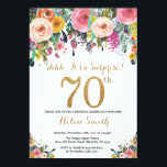 """Floral Surprise 70th Birthday Invitation Gold<br><div class=""""desc"""">Floral Surprise 70th Birthday Invitation for Women. Watercolor Floral Flower. Gold Glitter. Pink,  Yellow,  Orange,  Purple Flower. Adult Birthday. For further customization,  please click the """"Customize it"""" button and use our design tool to modify this template.</div>"""