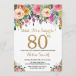 """Floral Surprise 80th Birthday Invitation Gold<br><div class=""""desc"""">Floral Surprise 80th Birthday Invitation for Women. Watercolor Floral Flower. Gold Glitter. Pink,  Yellow,  Orange,  Purple Flower. Adult Birthday. For further customization,  please click the """"Customize it"""" button and use our design tool to modify this template.</div>"""