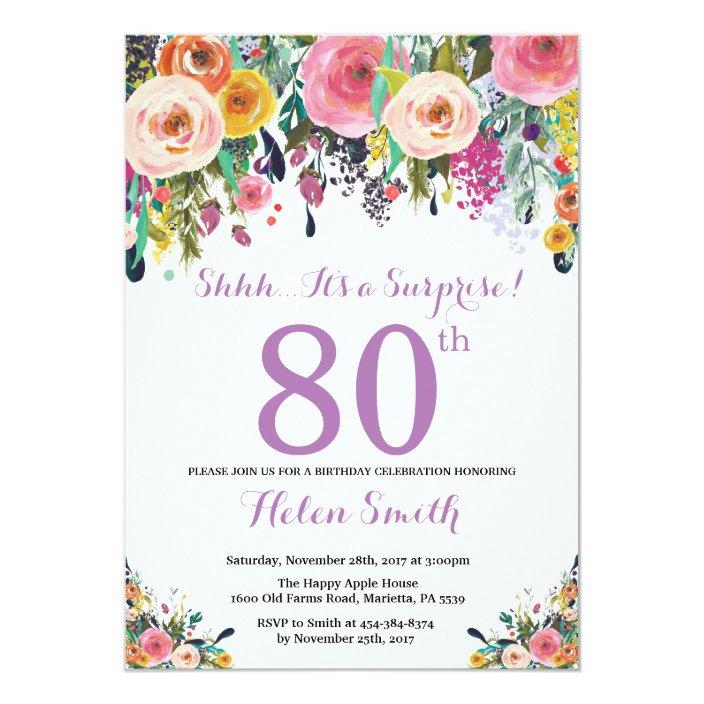 80th Birthday Invitation Purple