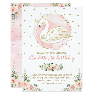 Floral Swan Princess Peach Blush Gold Birthday Invitation