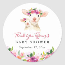 Floral Sweet Mom And Baby Lamb Baby Shower Classic Round Sticker