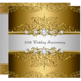 Floral Swirl 50th Wedding Anniversary Invite